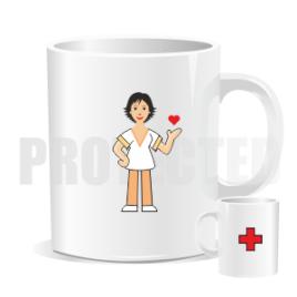 Hrnek – Sanitárka / ošetřovatelka / pečovatelka tmavovláska